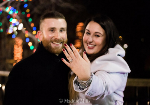 a diamond design couple that got engaged at bowring park in st. john's nl