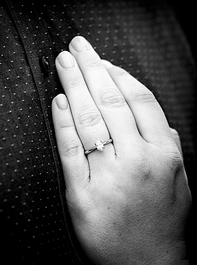 solitaire engagement ring close up
