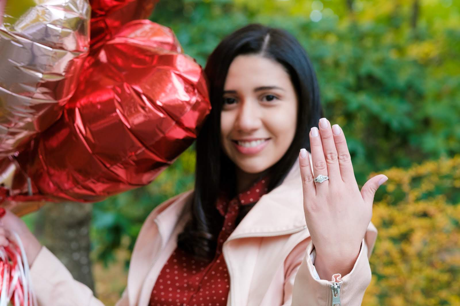 woman wearing new custom engagement ring