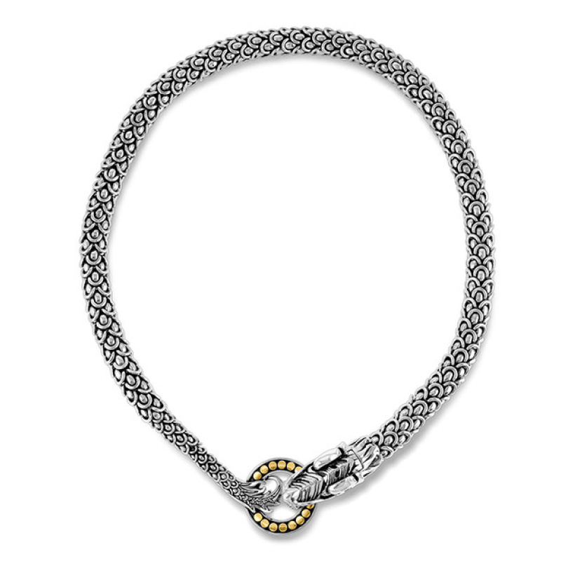 Legends Naga Necklace in Silver and 18K Gold