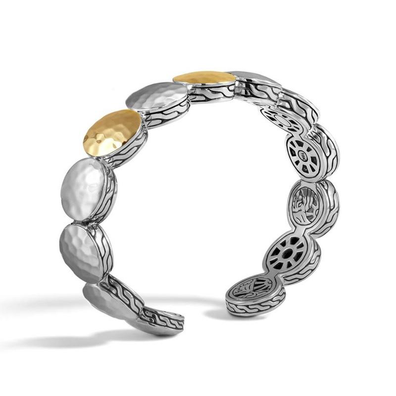 Dot Link Bracelet in Hammered Silver and 18K Gold