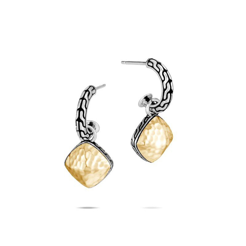 Classic Chain Hammered Sugarloaf Drop Earring
