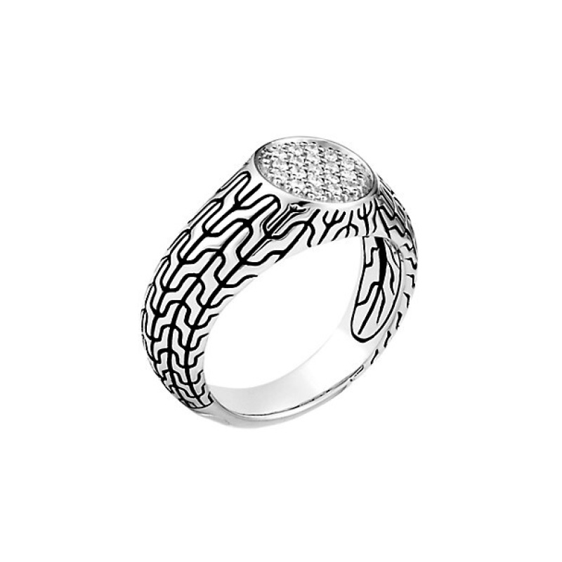Classic Chain Signet Ring with Diamonds