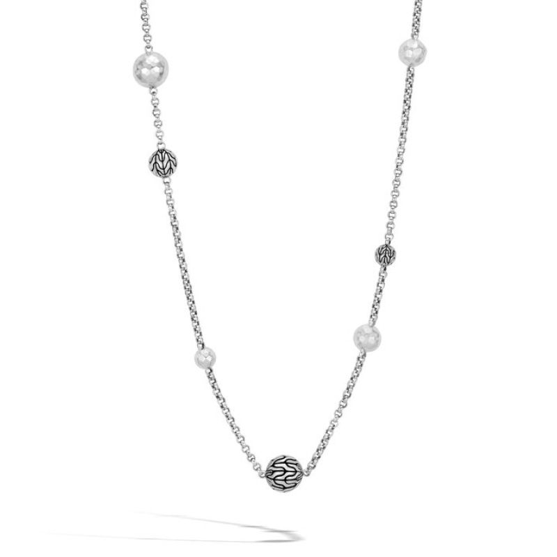 Classic Chain Hammered Long Necklace