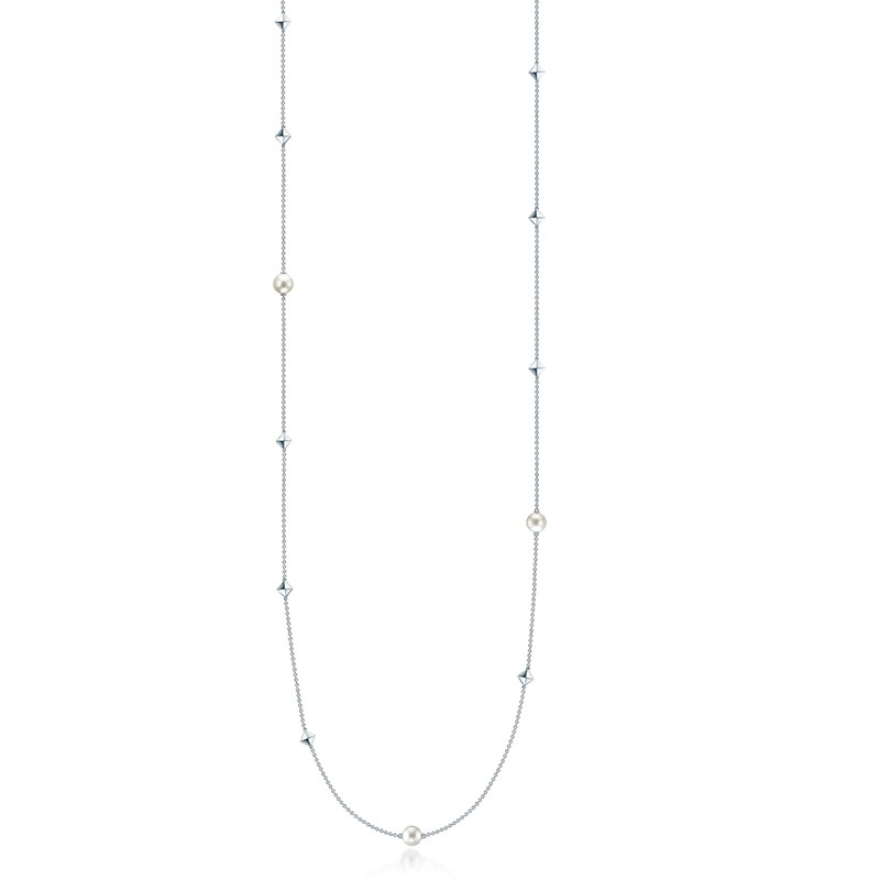 """Birks 36"""" Silver and Pearl Necklace"""