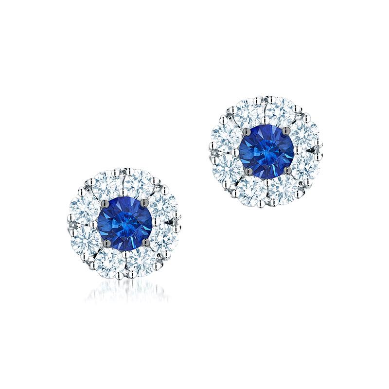 Birks Snowflake|Cluster Diamond Earrings with Sapphire