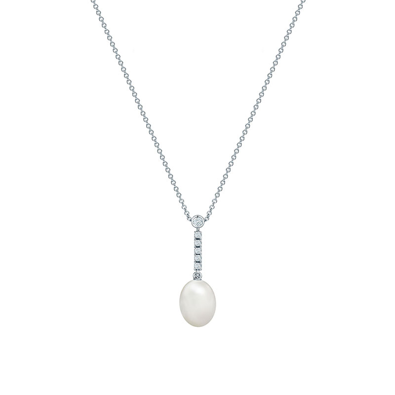 Freshwater Pearl and Diamond Drop Necklace | Birks Splash Collection