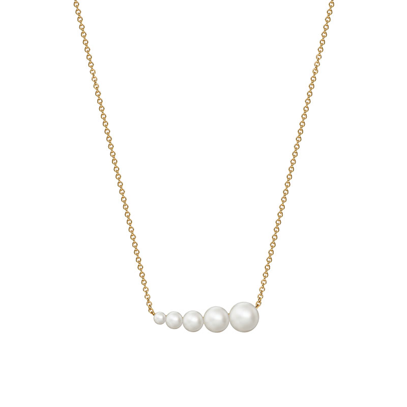 Birks Gold and Pearl|Freshwater Pearl Horizontal Bar Necklace