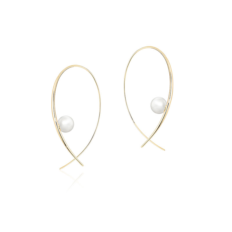 Birks Gold and Pearl|Freshwater Pearl Hoop Earrings