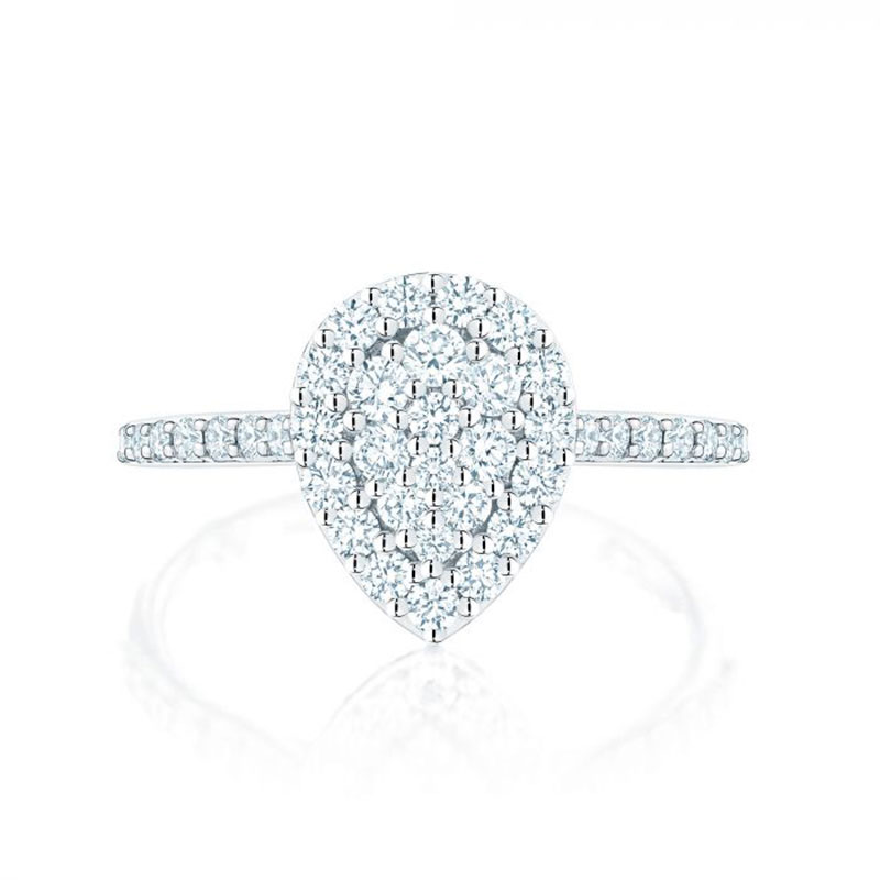 Birks Starry Night | Pear Shaped Diamond Cluster Ring with Single Halo