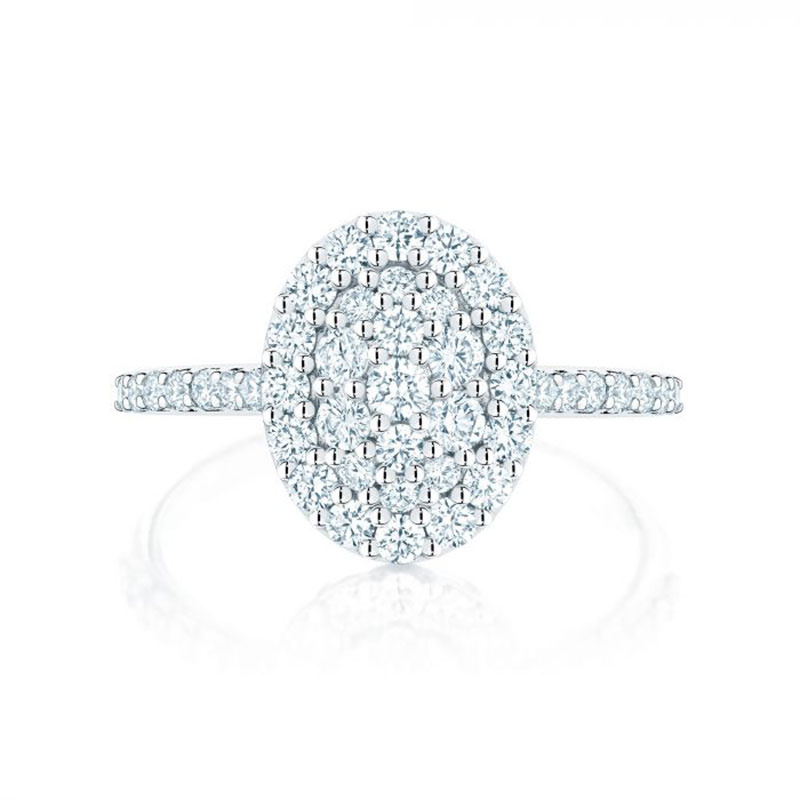 Birks Starry Night | Oval Shaped Diamond Cluster Ring with Single Halo