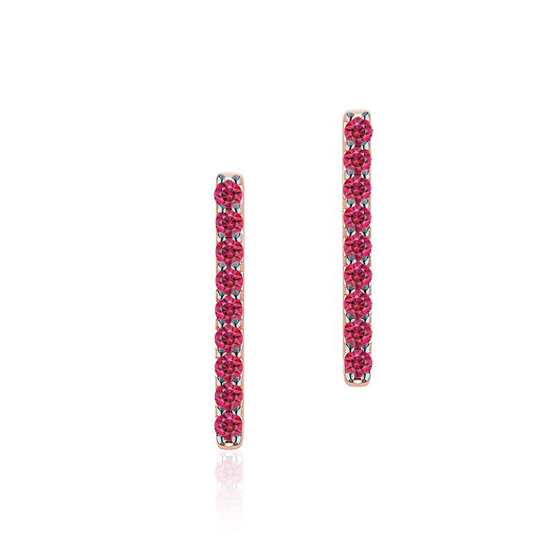 Birks Rosée du Matin | Rose Gold and Ruby Bar Earrings