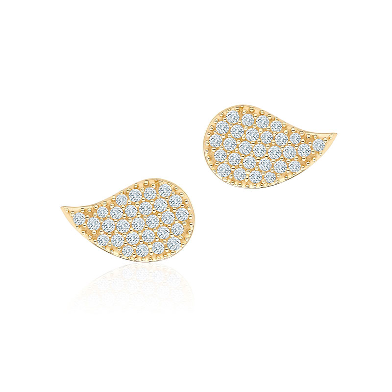 Birks Pétale | Large Yellow Gold and Diamond Stud Earrings