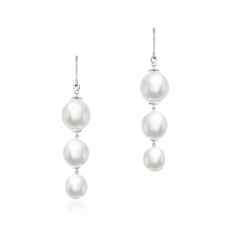 Birks Bee Chic | Freshwater Baroque Pearl and Silver Drop Earrings