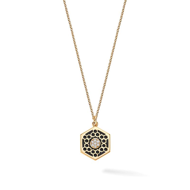 Birks Bee Chic Enamel | Medium Black Enamel and Diamond Hexagon Medallion in Yellow Gold