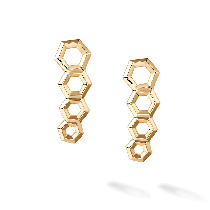 Birks Bee Chic | Yellow Gold Hexagons Bar Earrings