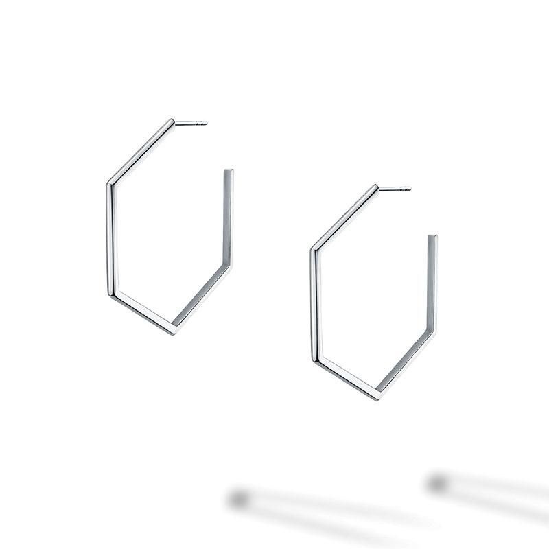 Birks Bee Chic | Large Silver Hexagon Hoop Earrings
