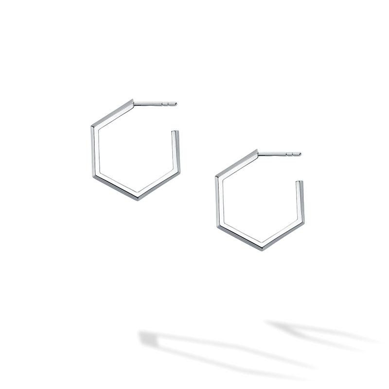 Birks Bee Chic | Medium Silver Hexagon Hoop Earrings