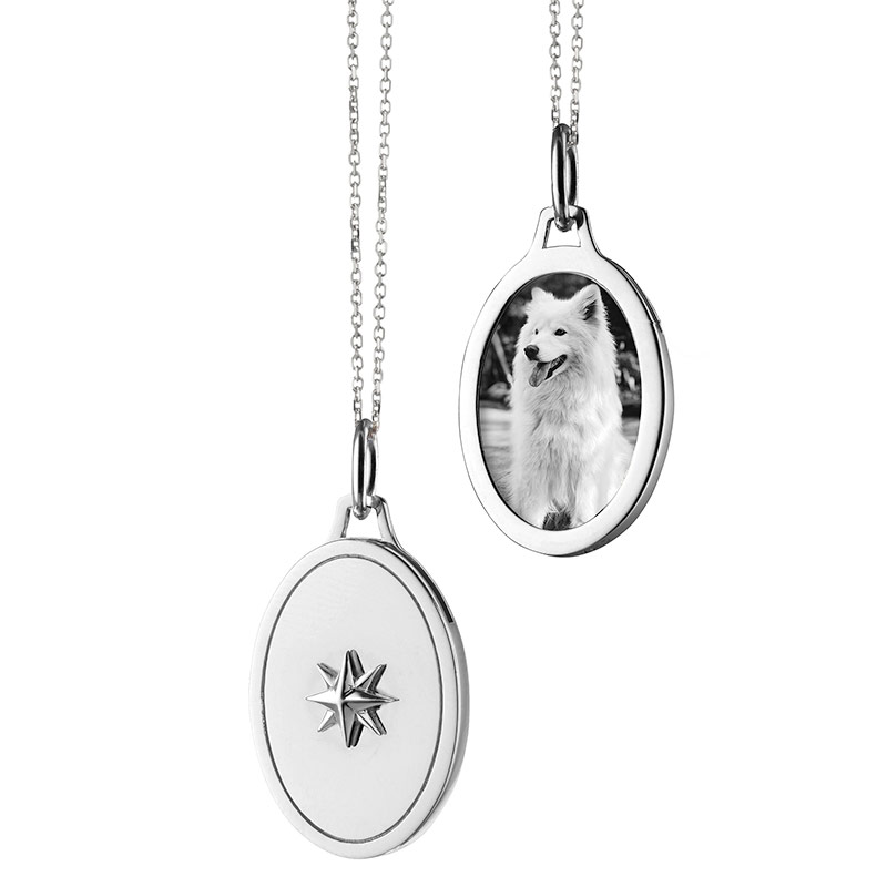 "Monica Rich Kosann Sterling Silver Oval Star Half Locket With an 18"" Mini Diamond Cut Chain with Loops AT 17"" and 16"""