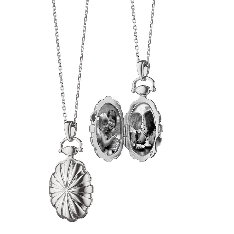 "Monica Rich Kosann Sterling Silver PETITE Sunburst Locket on an 18"" Thin Diamond Cut Chain"