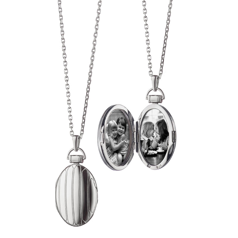 Monica Rich Kosann Sterling Silver Oval Domed Pinstripe Locket with Two Hinged Photo Doors on a 30 Inch Diamond Cut Chain