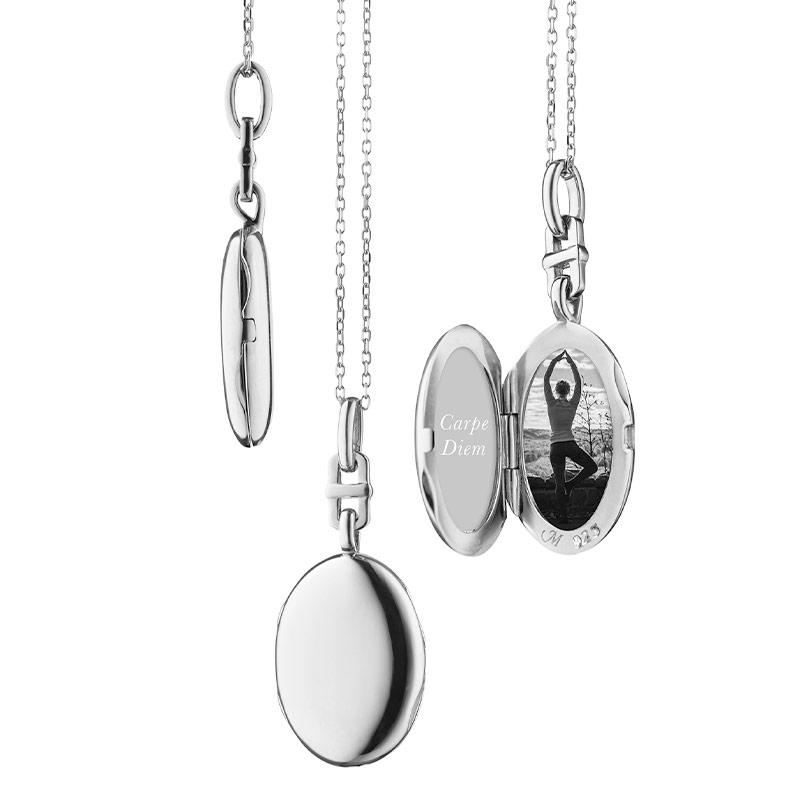 Monica Rich Kosann Sterling Silver Slim Oval Eve Locket on an 18 Inch Mini-Diamond Cut Chain