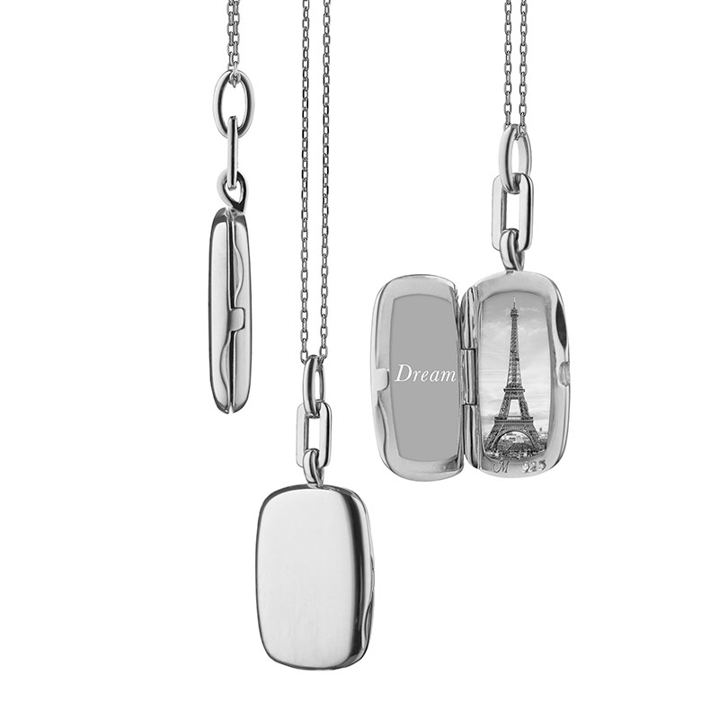 """Sterling Silver Slim Rectangle """"Dee"""" Locket on an 18"""" Mini Diamond-Cut Chain with additional loops at 17"""" and 16"""""""