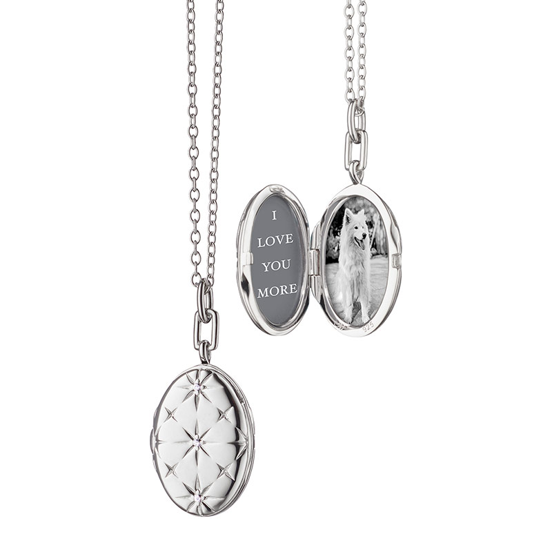 "Monica Rich Kosann Sterling Silver Locket With Mosaic Star Design and White Sapphires on a 30"" Oval Chain With Loop at 28"""