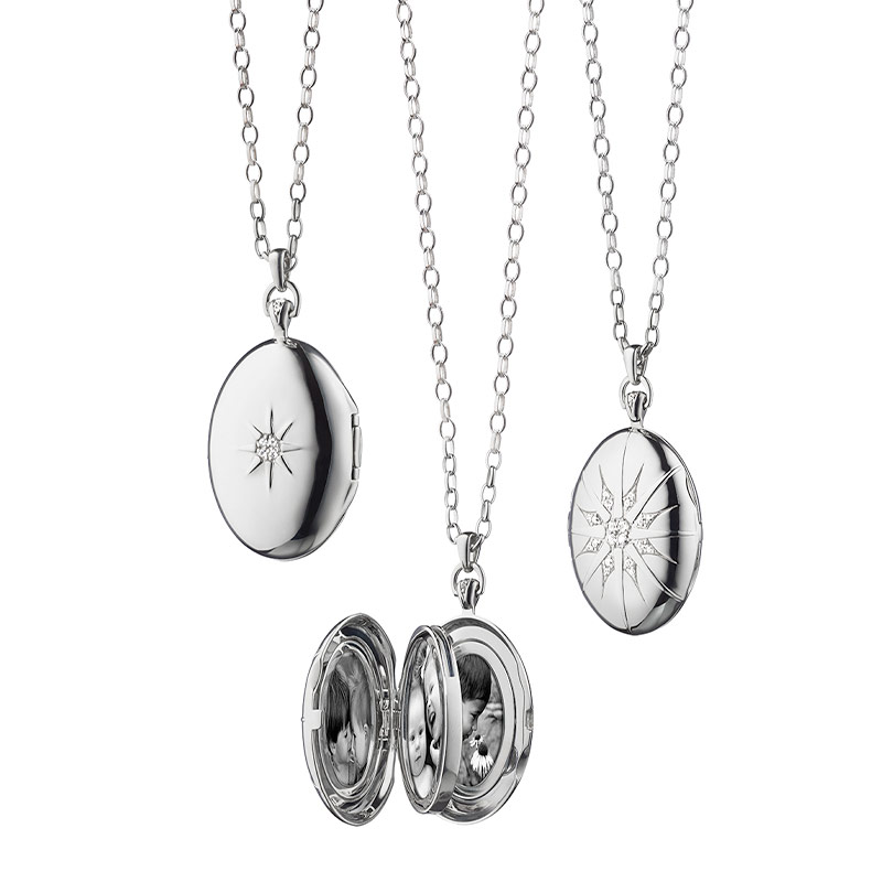 Monica Rich Kosann Sterling Silver Four Image Locket With White Sapphire Star Measuring 0.37 TCW on a 32 Inch Belcher Chain