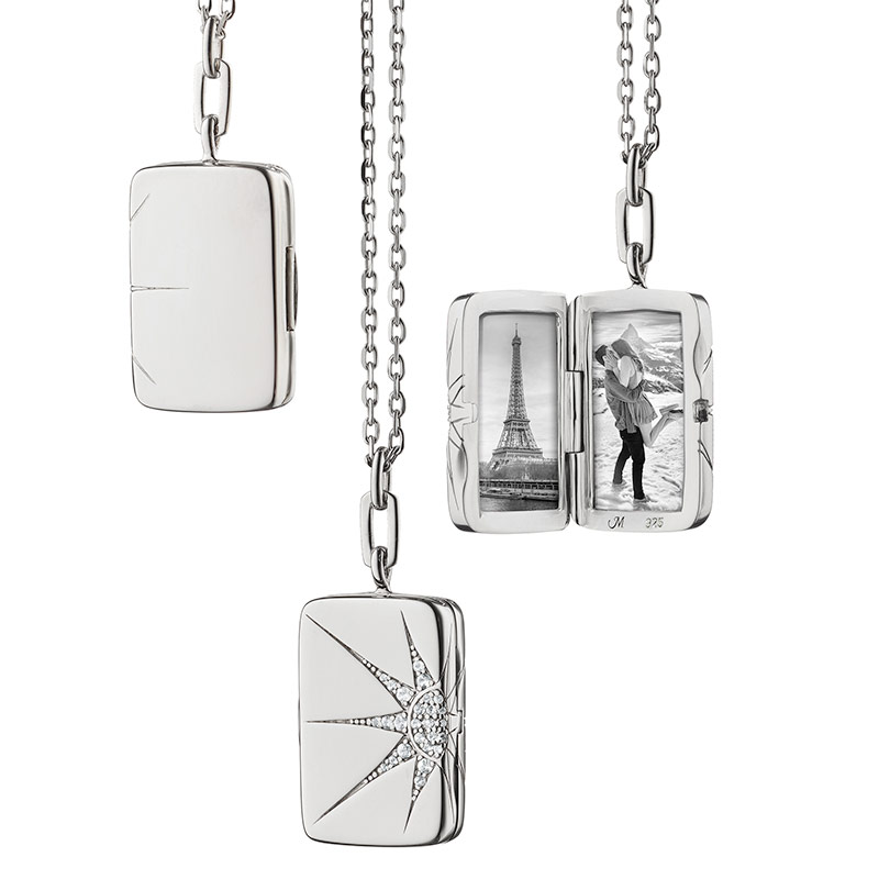 "Monica Rich Kosann Sterling Silver Rectangle Locket With White Sapphires in an Elongated Star Design on a 32"" Chain"