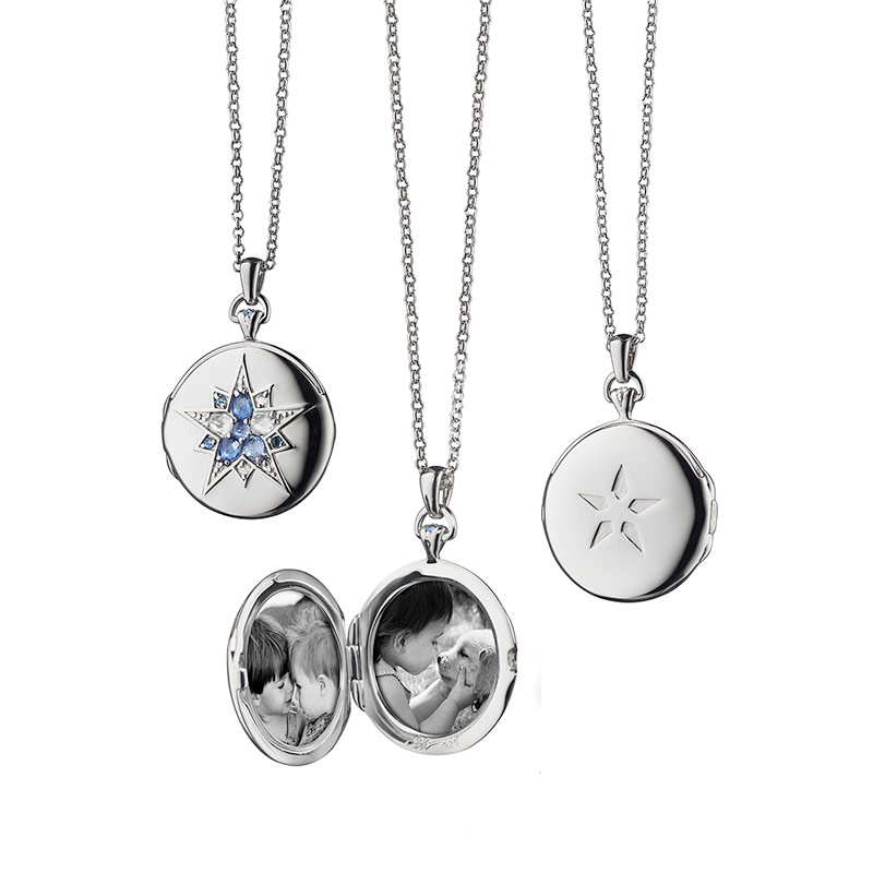 "Monica Rich Kosann Sterling Silver Round Locket With Blue Rose Cut Sapphire 0.29 TW and Rose Cut Rock Crystal 0.75TW Star on a 32"" Mini Belcher Chain."