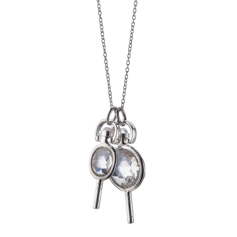 Monica Rich Kosann Sterling Silver Round Mini Key with Faceted Rock Crystal on a 30 Inch Diamond Cut Chain
