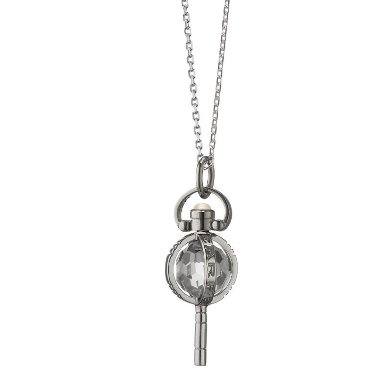 "Monica Rich Kosann Sterling Silver Miniature Carpe Diem Pocketwatch Key Charm on a 17"" Diamond Cut Chain"