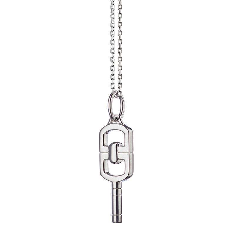 """Monica Rich Kosann Sterling Silver Petite Rectangular Pocketwatch Key with Curved Edging on an 18"""" Mini Diamond Cut Chain with Loops at 17"""" and 16"""""""