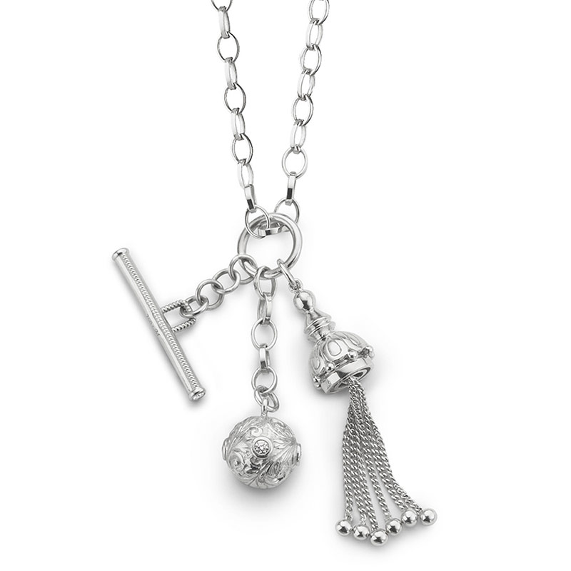 "Monica Rich Kosann Sterling Silver Tassel, Toggle & White Sapphire Charm on a 36""  Large Belcher Chain."
