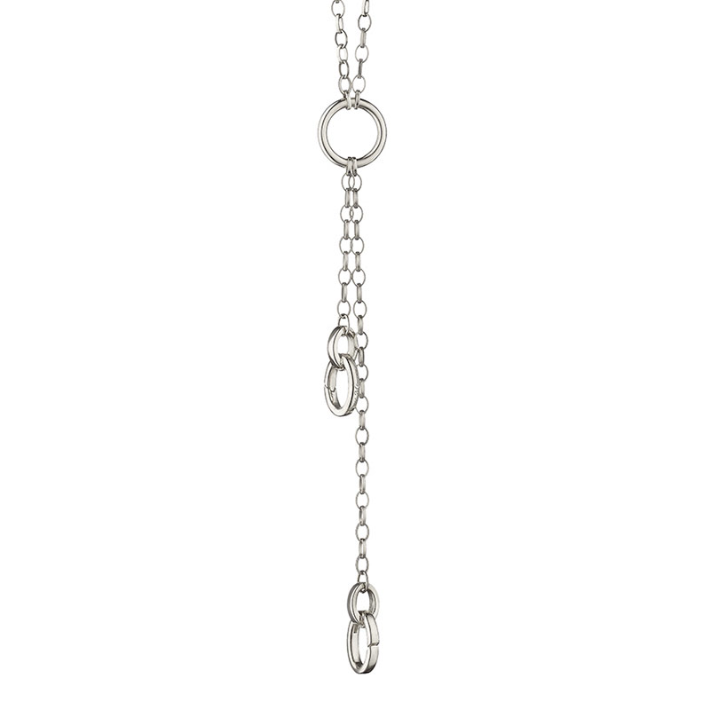 "Monica Rich Kosann Sterling Silver 30"" Small Belcher Charm Enhancer Chain With Three Locations For Charms"