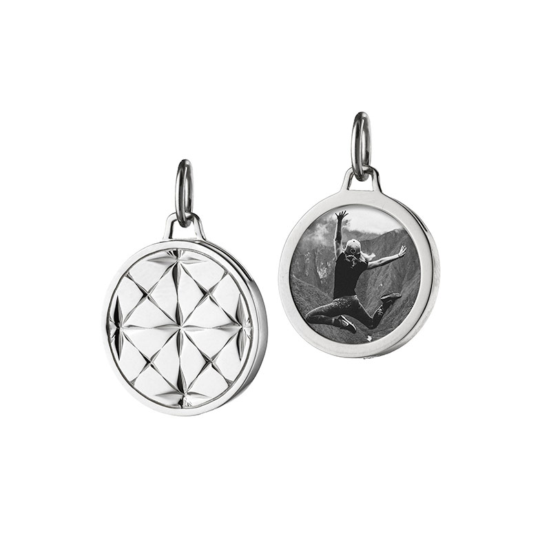 Monica Rich Kosann Sterling Silver Round Mosaic Half Locket
