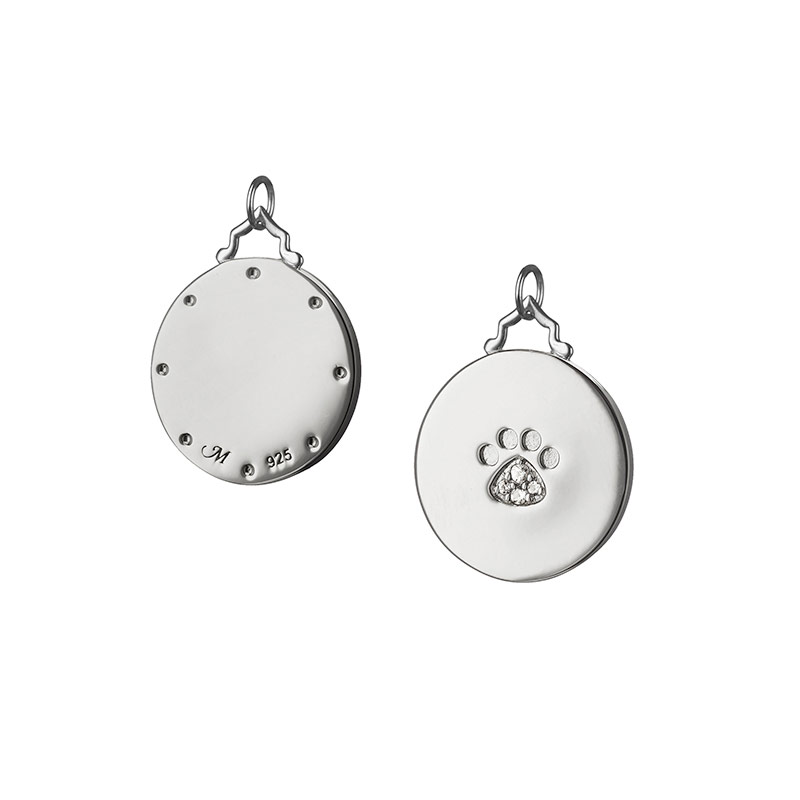 Monica Rich Kosann Sterling Silver Paw Print Disc with White Sapphires in Foot Pad