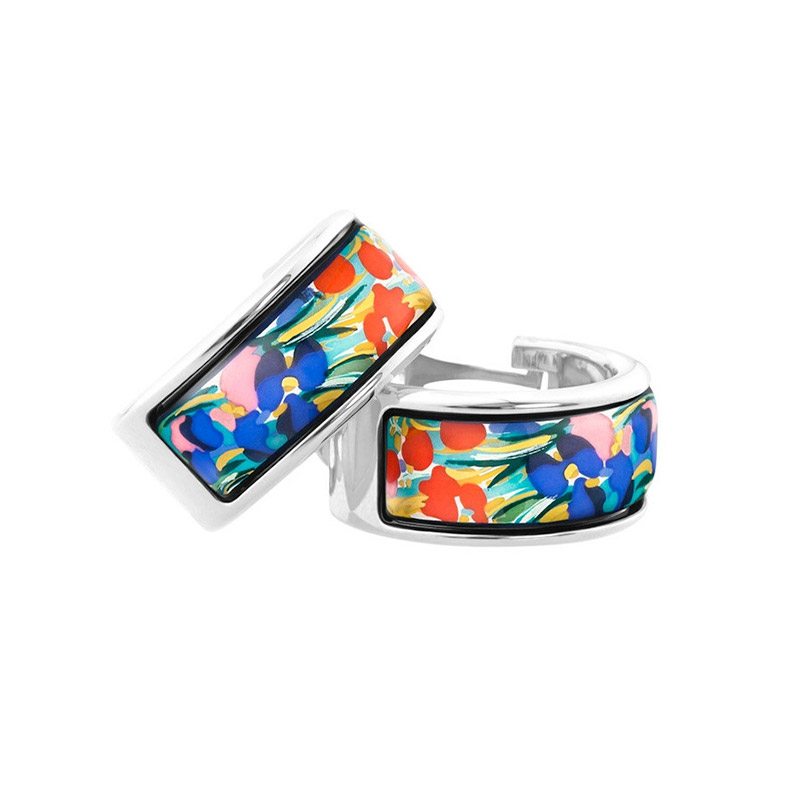 Hommage à Claude Monet Giverny Mini-Creole Huggie Earrings With Omega Backs