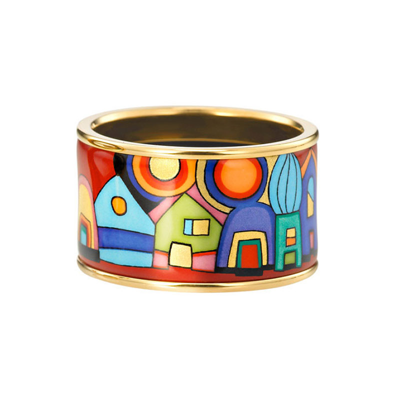 Hommage à Hundertwasser Street Rivers Diva Ring 17MM