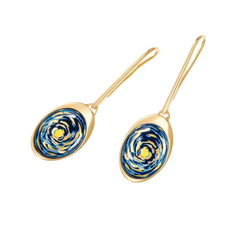 Hommage à Vincent Van Gogh Starry Night Eternite WaterDrop Earrings