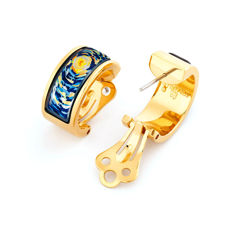 Hommage à Vincent Van Gogh Starry Night Mini-Creole Earrings