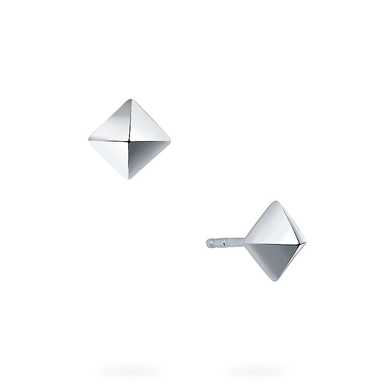 Birks Rock and Pearl|Silver Solitaire Stud Earrings