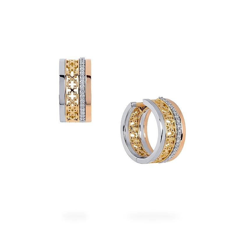Birks Dare To Dream|Diamond Tri-Gold Huggie Earrings