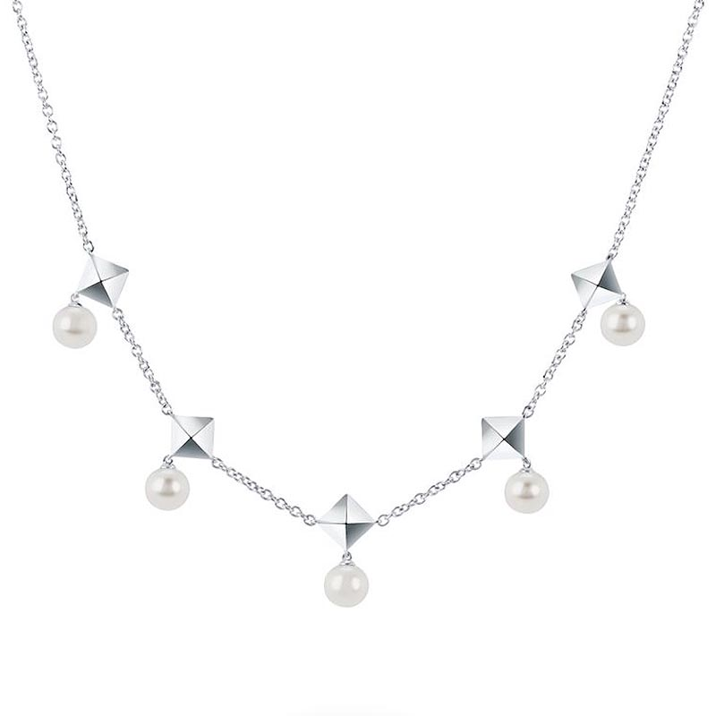 Birks Rock and Pearl Collection|Freshwater Pearl and Stud Chain Necklace