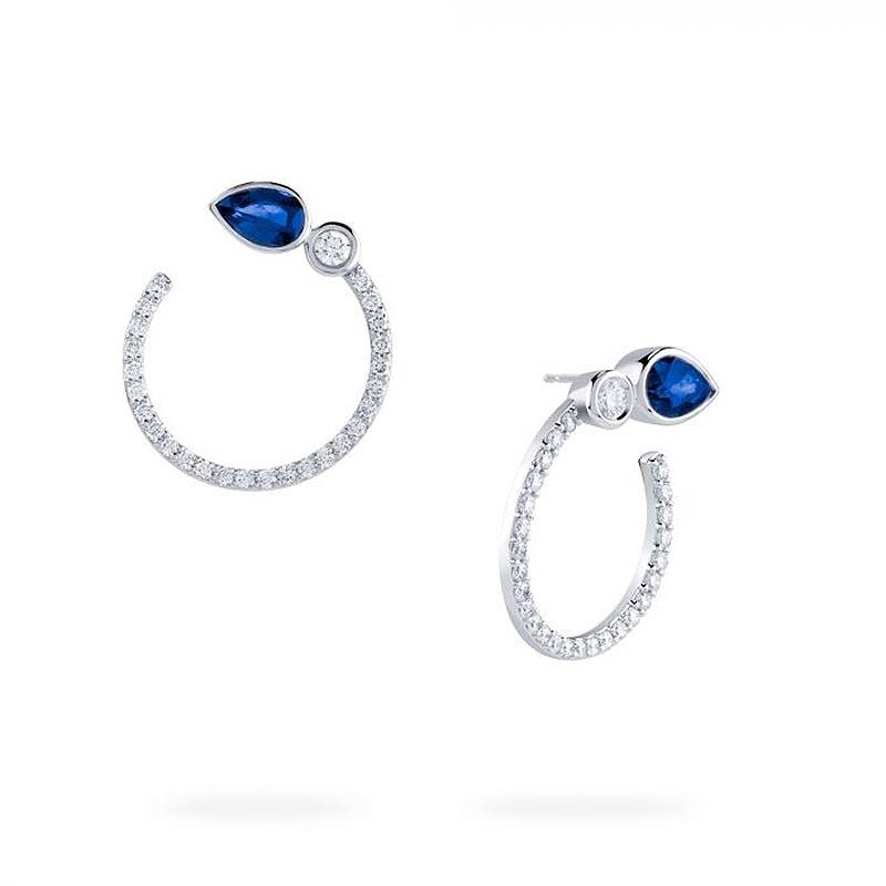 Birks Splash Collection|Diamond and Sapphire Small Hoop Earrings