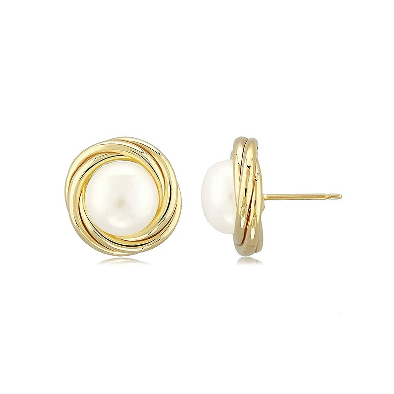 Carla Large Knot Stud earrings with Freshwater pearl