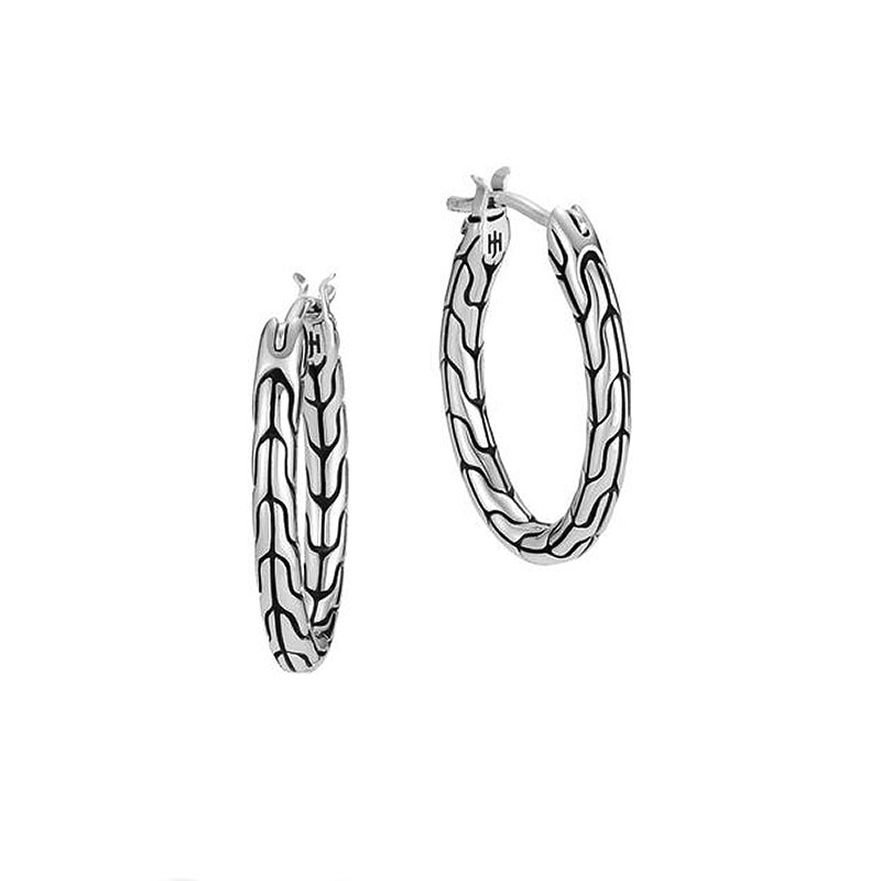 Classic Motif Small Oval Hoop Earring