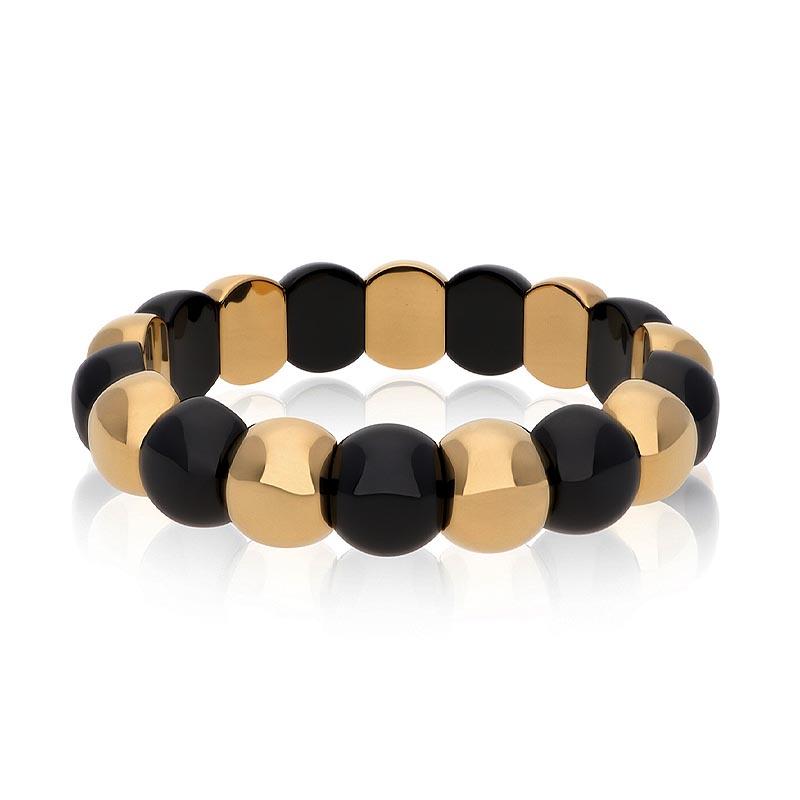 Aura Dama Polished Black Ceramic and 18K Yellow Gold Bracelet