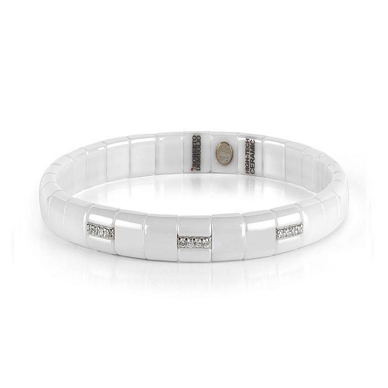 Pura Luce White Polished Ceramic and Diamond  Bracelet